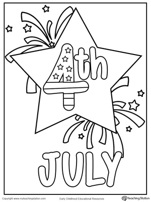 4th July Star Coloring Page MyTeachingStationcom