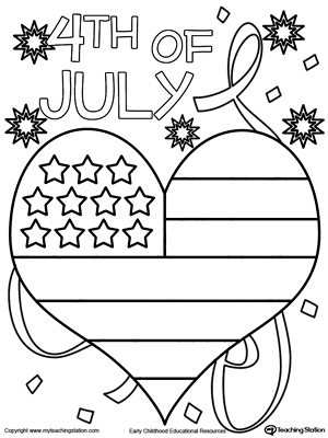 4th of July Heart Flag Coloring Page MyTeachingStationcom