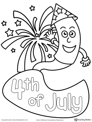 4th of July Fireworks Coloring Page