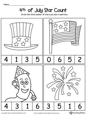 4th Of July Star Count Myteachingstation