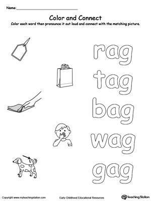 Practice coloring and fine motor skills in this AG Word Family printable worksheet.