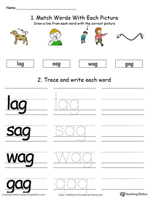 AG Word Family Connect, Trace and Write in Color