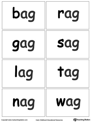 AG Word Family Flash Cards | MyTeachingStation.com