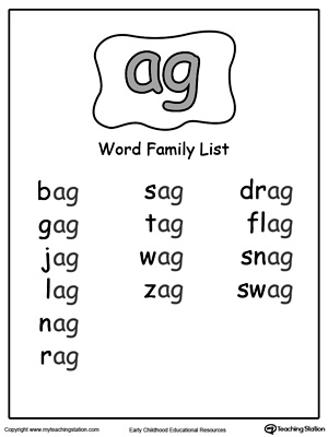 AG Word Family List