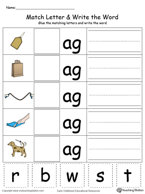 Place the missing letter in this beginning sound AG Word Family printable worksheet in color.