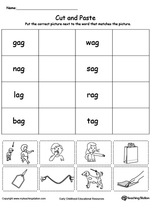 Learn word definition and spelling with this AG Word Family Match Picture with Word worksheet.