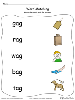 AG Word Family Picture and Word Match in Color. Identifying words ending in  –AG by matching the words with each picture.