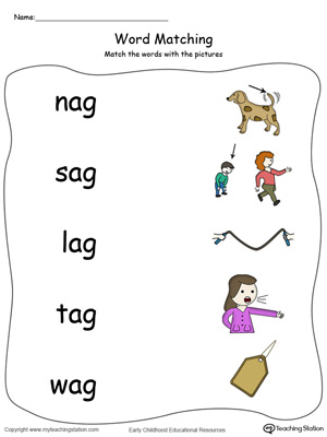 AG Word Family Picture Match in Color