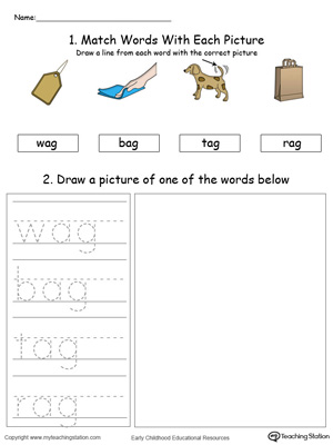 Practice drawing, tracing and identifying the sounds of the letters AG in this Word Family printable.