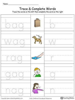 AG Word Family Trace and Write in Color | MyTeachingStation.com