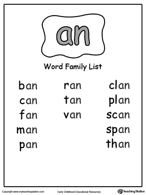 Worksheets An Word Family Worksheets an word family list myteachingstation com downloadfree worksheet