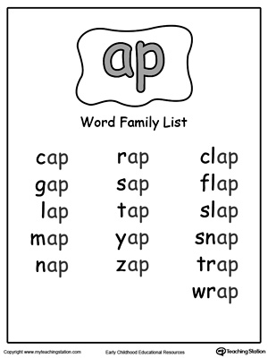 ... family list at word family list ag word family list ay word family