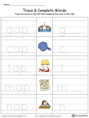 Trace then write the words themselves in this AP Word Family Trace and Write in Color printable worksheet.