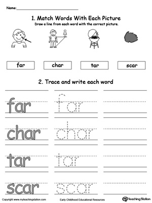 AR Word Family Connect, Trace and Write
