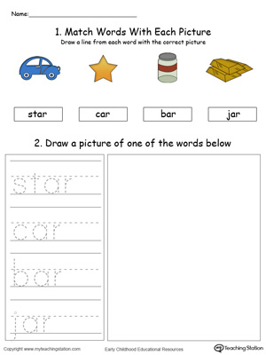 Practice drawing, tracing and identifying the sounds of the letters AR in this Word Family printable.