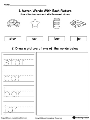 Practice tracing, drawing and recognizing the sounds of the letters AR in this Word Family printable.