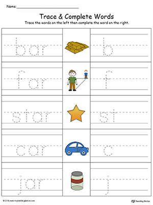 AT Word Family Trace and Write in Color | MyTeachingStation.com