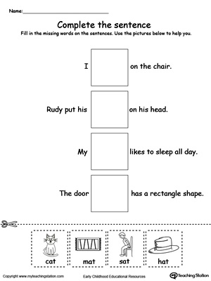 Complete the AT Word Family sentence in this printable worksheet.