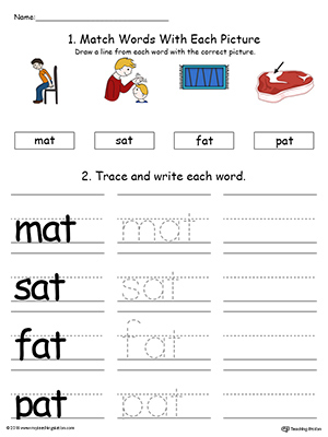 at word family connect trace and write in color  myteachingstationcom at word family connect trace and write in color  page worksheet