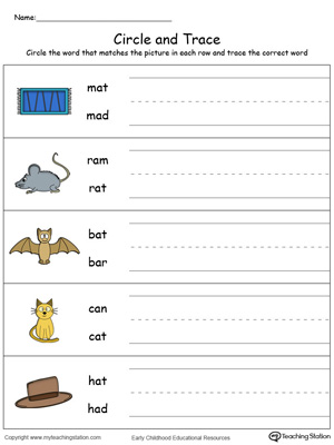 Build vocabulary, learn phonics and practice writing with this AT Word Family worksheet.