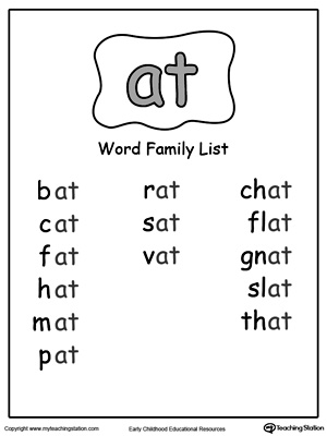 math worksheet : ub word family list  myteachingstation  : At Family Worksheets For Kindergarten