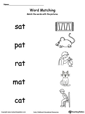 Worksheets An Word Family Worksheets at word family workbook for kindergarten myteachingstation com match words with pictures worksheet