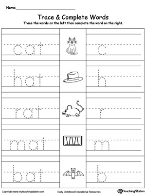 math worksheet : early childhood word families worksheets  myteachingstation  : At Family Worksheets For Kindergarten