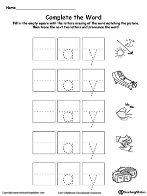 Complete the beginning sound of words in this AY Word Family printable worksheet.