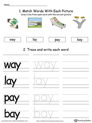 AY Word Family Connect, Trace and Write in Color