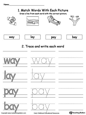 AY Word Family Connect, Trace and Write