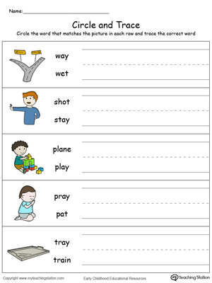 Build vocabulary, learn phonics and practice writing with this AY Word Family worksheet.