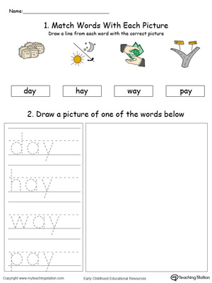 Practice drawing, tracing and identifying the sounds of the letters AY in this Word Family printable.