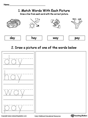 Practice tracing, drawing and recognizing the sounds of the letters AY in this Word Family printable.