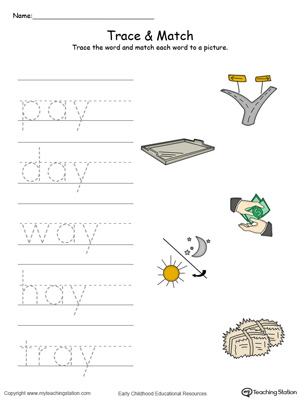 Match word with pictures in this AY Word Family printable worksheet in color.
