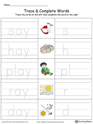 Trace then write the words themselves in this AY Word Family Trace and Write in Color printable worksheet.