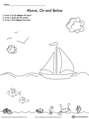 Printables Position Worksheets For Kindergarten kindergarten position and direction printable worksheets drawing objects above on below