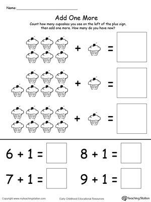 math worksheet : add one more cupcake addition  myteachingstation  : Kindergarten Adding Worksheet