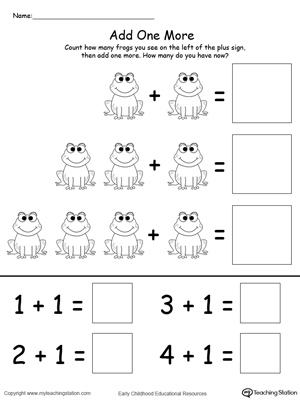 Number Names Worksheets preschool math worksheet : Preschool Addition Printable Worksheets | MyTeachingStation.com