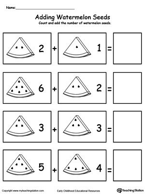 Kindergarten Addition Printable Worksheets