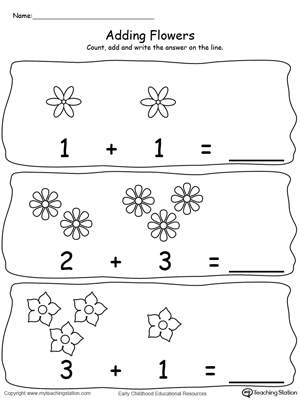 Adding Numbers With Flowers - Sums to 2-5-4