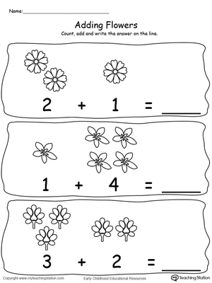 Adding Numbers With Flowers - Sums to 5 | MyTeachingStation.com
