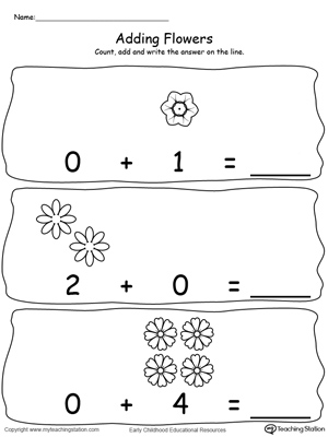 kindergarten addition printable worksheets  myteachingstationcom adding numbers with flowers using zeros