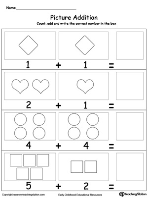 Adding Numbers With Shapes on kindergarten worksheets number families