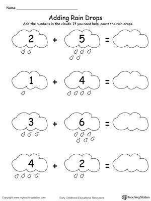 Adding Numbers With Rain Drops Up to 9