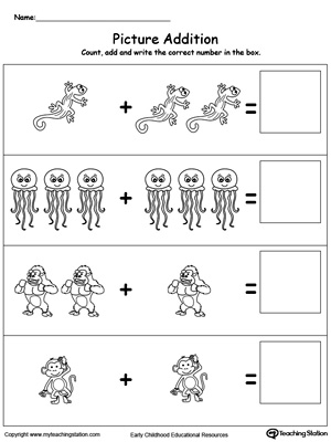 Preschool Addition Printable Worksheets | MyTeachingStation.com