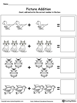 math worksheet : early childhood addition worksheets  myteachingstation  : Addition Worksheets For Kindergarten With Pictures