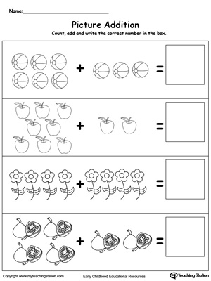 Worksheet Beginning Math Worksheets adding numbers with pictures myteachingstation com addition objects