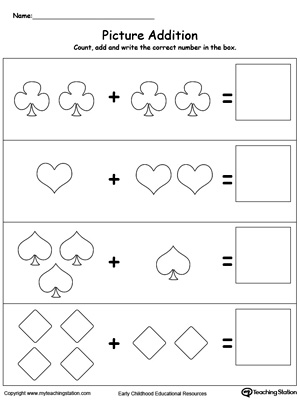 kindergarten math,addition,addition with pictures,adding numbers ...