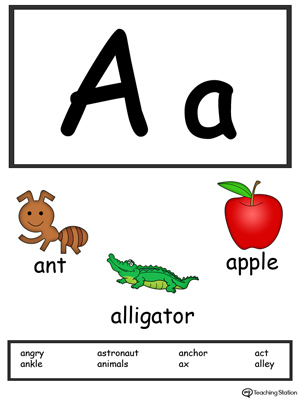 letter a alphabet flash cards for preschoolers