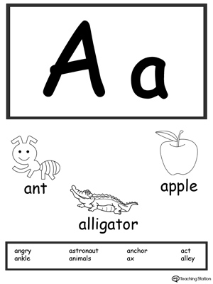 picture regarding Alphabet Flash Cards Printable Black and White titled Letter A Printable Alphabet Flash Playing cards for Preschoolers
